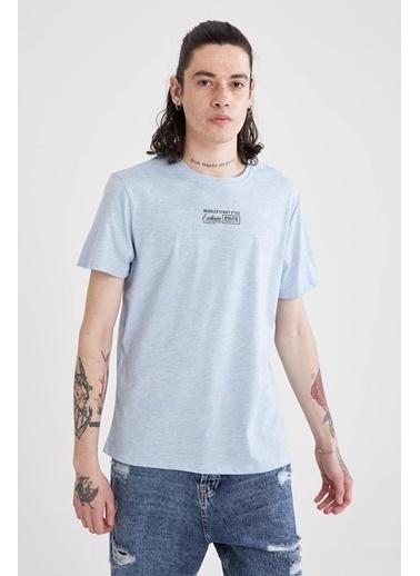 DeFacto Slim Fit Bisiklet Yaka Yazı Baskılı T-shirt Mavi